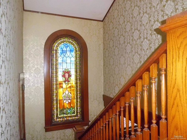 Antique Stained Glass Lights Up the Landing